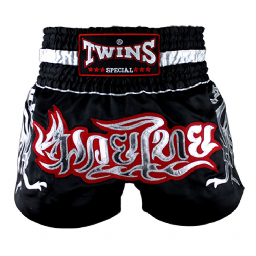 Twins TWS-153 Black/Silver Muay Thai Shorts